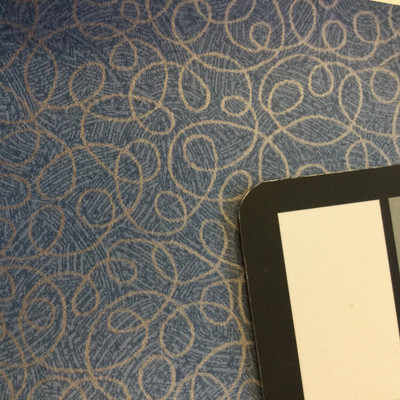 4.8 Yard Piece of Vinyl Fabric   Silver Squiggles on Blue   Felt-Backed   Upholstery / Bag Making   54 Wide