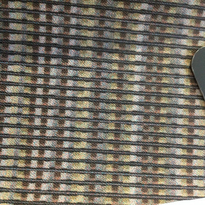 2.4 Yard Piece of Vinyl Fabric   Vintage Stripes Gray / Brown   Upholstery / Bag Making   54 Wide