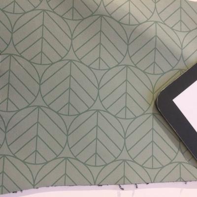 4 Yard Piece of Vinyl Fabric | Retro Geometric Decorative Circles Sage Green | Upholstery / Bag Making | 54 Wide