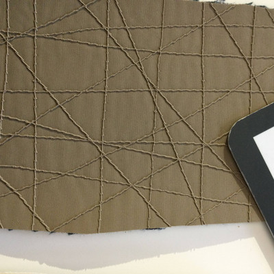 2.8 Yard Piece of Vinyl Fabric | Muted Brown Stitched Texture | Felt-Backed | Upholstery / Bag Making | 54 Wide