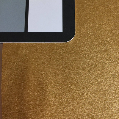 4.8 Yard Piece of Faux Leather Vinyl Fabric | Gold Lightly Textured | Felt-Backed | Upholstery / Bag Making | 54 Wide