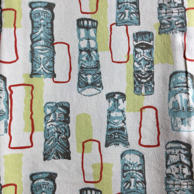 Tikiman Blue / Red   Home Decor Fabric   Premier Prints   54 Wide   By the Yard