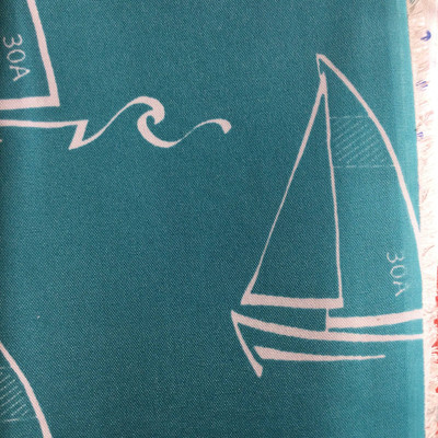 Sailboats Teal / White | Indoor / Outdoor Home Decor Fabric | Premier Prints | 54 Wide | By the Yard