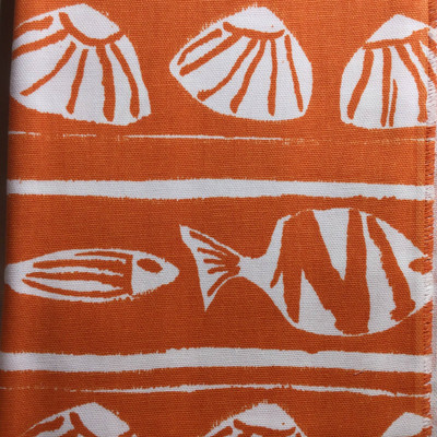 Tropical Fish / Shells Orange and White   Home Decor Fabric   Premier Prints   Nautical   54 Wide   By the Yard