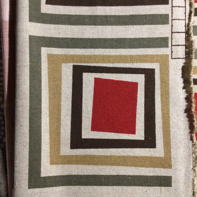 Geometric Squares Red / Tan / Taupe | Home Decor Fabric | Premier Prints | 54 Wide | By the Yard