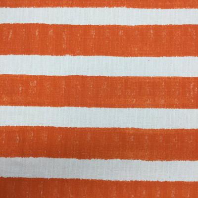 deckled stripes orange off white textured canvas