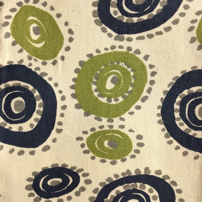 Dotted Circles in Navy Blue / Green / Beige   Home Decor Fabric   Premier Prints   54 Wide   By the Yard
