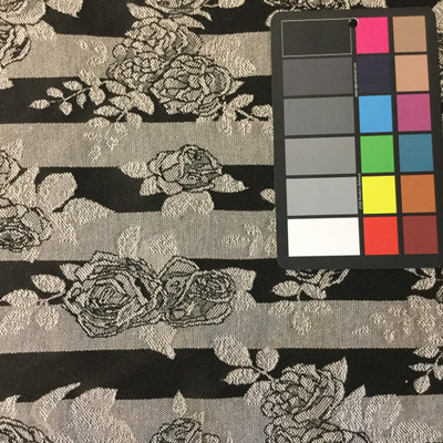 Stripes and Roses Black / White | Heavy Upholstery Fabric | 54 Wide | By the Yard