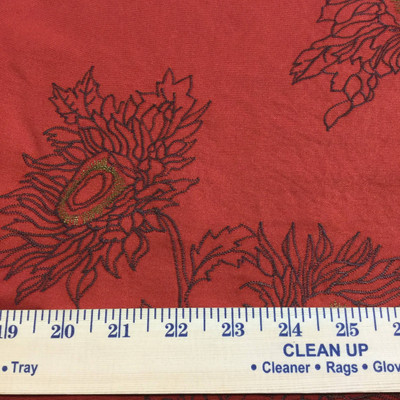 floral embroidery red brown