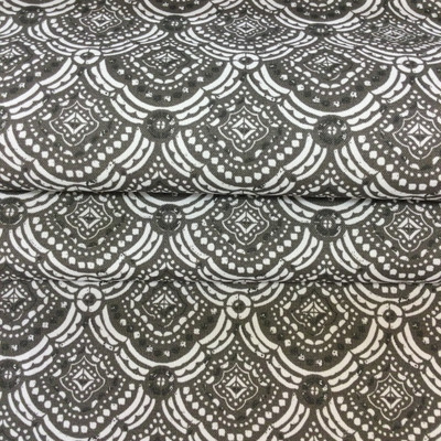 """3.3 Yard Piece of Home Decor Fabric   Decorative Fishscale Gray / White    Upholstery / Drapery   54"""" Wide"""