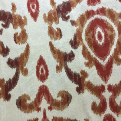 """4.3 Yard Piece of Upholstery Fabric   Ikat Red / Orange / Beige   54"""" Wide"""