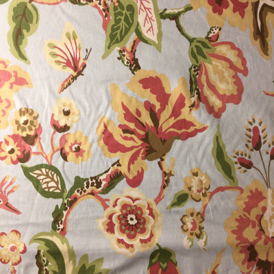 """4.8 Yard Piece of Home Decor Fabric   Floral Blue / Red / Yellow / Green   Upholstery / Drapery   54"""" Wide"""
