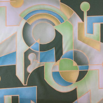 Vintage Geometric Green,Yellow,Blue Linen