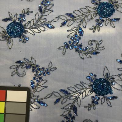 Gold&Teal Floral on Blue Sequin Applique Lace
