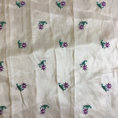 """Purple Flowers on Sheer Off White   Drapery Fabric   45"""" Wide   By the Yard"""
