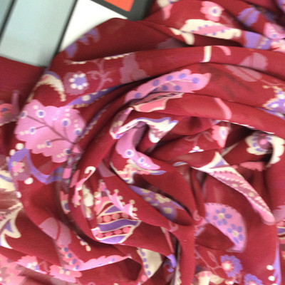 """Burgundy Floral Poly Chiffon Print   Pink, Purple and Ivory Leaves in Scroll   45"""" Wide   100% Polyester"""
