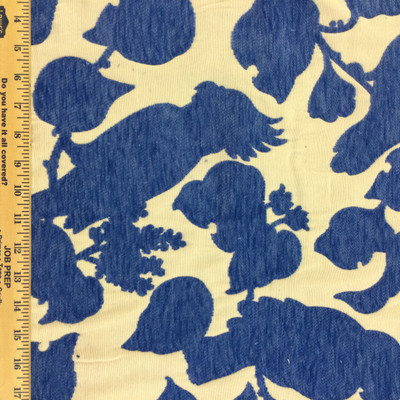 """Tropical Birds in Blue and off White 