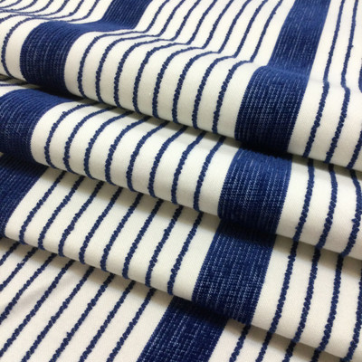 """Blue and White Stripes   Porter Stripe in Royale by BELLA-DURA   Latex Backed   Indoor / Outdoor Fabric   WATER RESISTANT   54"""" Wide   BTY"""
