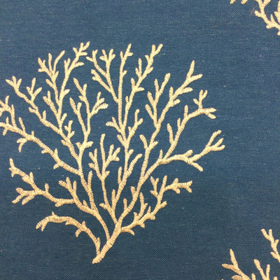 """Coral Embroidery in White on Blue   Nautical   Queensland Marine by Regal Fabrics   Upholstery / Drapery Fabric   54"""" Wide   By the Yard"""