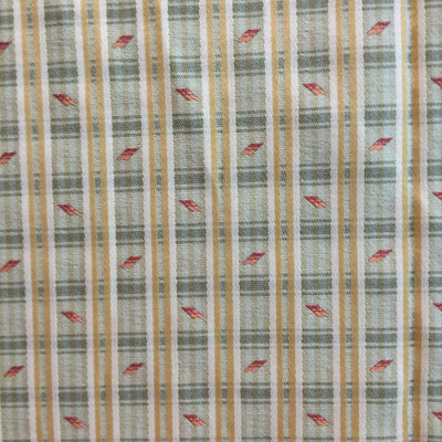 0.875 Yard Piece of Yellow / Green Plaid with Bits of Orange   Upholstery Fabric   56 Wide   BTY