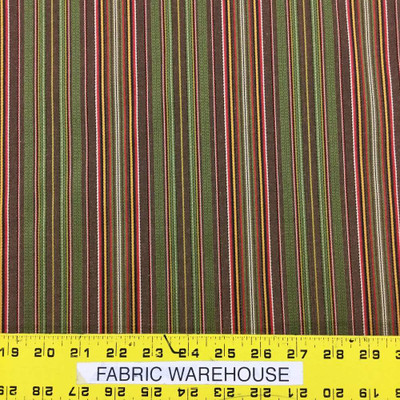 """8.8 Yard Piece of Retro Stripes in Brown, Green, and Red Upholstery Fabric   54""""   BTY   Durable"""