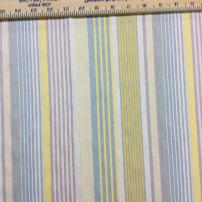 """Pastel Stripes in Yellow / Purple / Blue / Off White   Home Decor Fabric   54"""" Wide   By the Yard"""