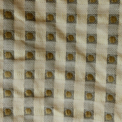 """2 Yard Piece of Polka Dot on Pale Gold Taupe Check Upholstery Drapery Fabric By The Yard 54"""""""