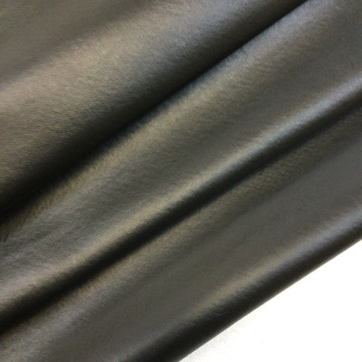 """Black Felt-Backed Faux Leather Vinyl Fabric 