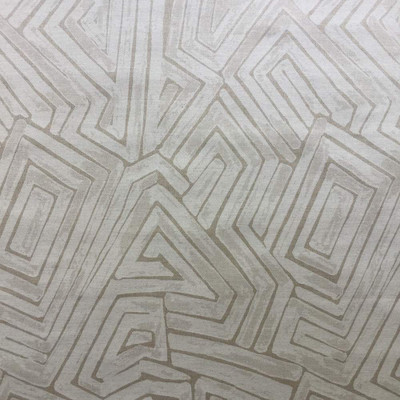 """3.8 Yard Piece of Abstract Maze in Beige Upholstery / Drapery Fabric 