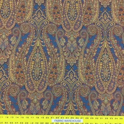 "2 Yard Piece of Aspec Paisley Upholstery/Drapery Fabric   54""w   BTY   Gold, Orange, Blue"