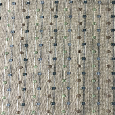 2 Yard Piece of Tan with Green Brown Squares   Slipcover / Upholstery Fabric   54 Wide   BTY