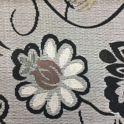 large scale floral in gray black beige