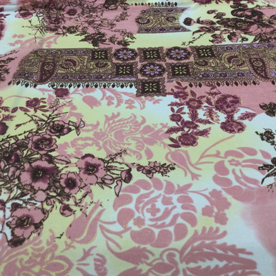 18 Yard Piece of Rose/Yellow/Burgundy Polyester Jersey Knit Fabric | Bohemian Floral Print| | Apparel | Tops  | Dresses | 60 inch Wide