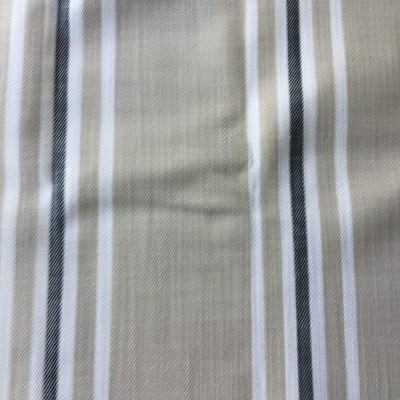 1 Yard Piece of Vertical Stripes in Beige, White, and Navy Blue | Upholstery Fabric | 56 Wide