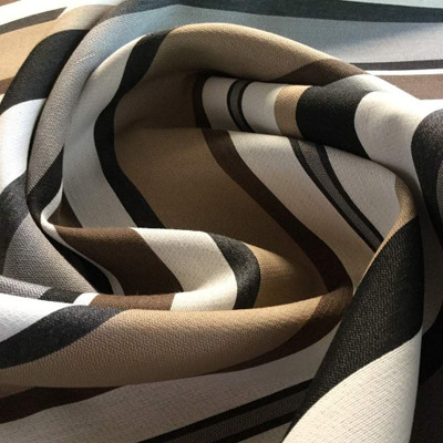 1 Yard Piece of Horizontal Stripes Brown, Black, White | Heavy Duty Upholstery Fabric | 54 Wide