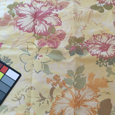 1 Yard Piece of Retro Tropical Floral in Beige / Orange / Pink | Upholstery Fabric | 57 W | BTY