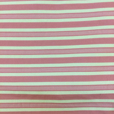2 Yard Piece of Salmon Pink and Yellow Striped Upholstery Fabric   54 Wide   BTY   Reversible
