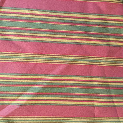 2 Yard Piece of Horizontal Stripes Red, Green, Gold   Slipcover / Drapery Fabric   56 Wide   BTY