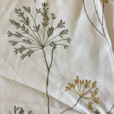 """Meadow in Mist   Modern Floral Embroidery Beige / Gold / Taupe   Upholstery Fabric   Regal Fabrics Brand   54"""" Wide   By the Yard"""