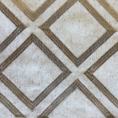 """Tangent in Linen-Taupe   Diamond Embroidery Taupe / Natural   Upholstery Fabric   Krelan Fabrics Brand   54"""" Wide   By the Yard"""
