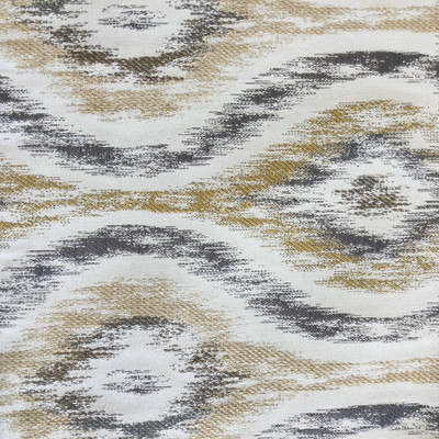 """Flume in Grey   Ikat in Gold / Grey / Beige   Upholstery Fabric   Regal Fabrics Brand   54"""" Wide   By the Yard"""