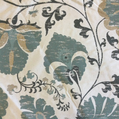 """Farah in Mint   Jacobean Floral in Green / Beige   Upholstery Fabric   Regal Fabrics Brand   54"""" Wide   By the Yard"""