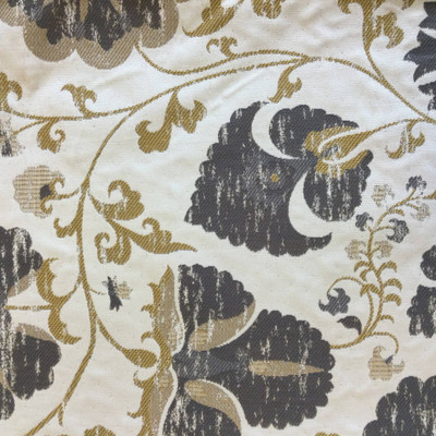 """Farah in Grey   Jacobean Floral Grey / Yellow / Beige   Upholstery Fabric   Regal Fabrics Brand   54"""" Wide   By the Yard"""