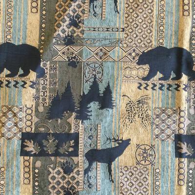 "Brentwood in Bluestone   Bear / Buck Wildlife Tapestry   Green / Blue / Black   Upholstery Fabric   Regal Fabrics Brand   54"" Wide   By the Yard"