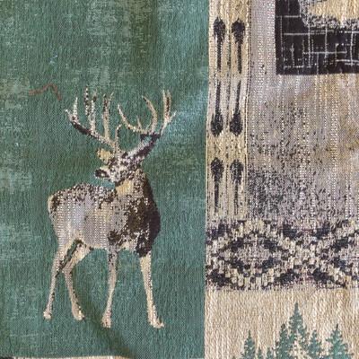 "Timberline in Juniper | Bear / Buck Tapestry in Green / Beige | Upholstery Fabric | Regal Fabrics Brand | 54"" Wide | By the Yard"