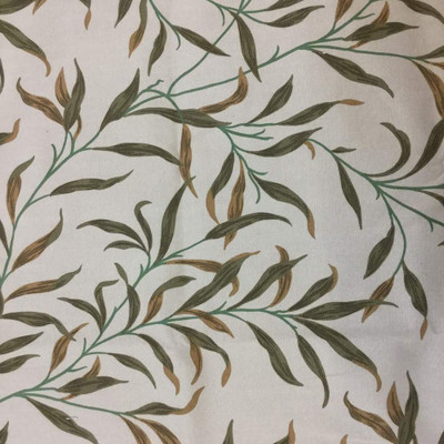 1 Yard Piece of Leaf Stems in Green / Tan / Beige   Upholstery / Slipcover Fabric   54 W   BTY