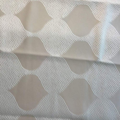 1.125 Yard Piece of Beige and White Ogee Sateen   Upholstery / Drapery Fabric   54 W   By the Yard