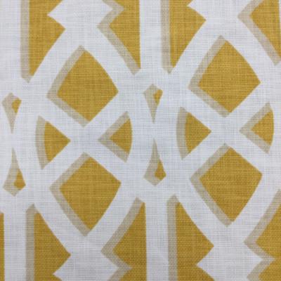 "Elton in Yolk | Basketweave Lattice in Yellow / White | Upholstery / Drapery Fabric | P/Kaufmann | 54"" Wide | By the Yard"