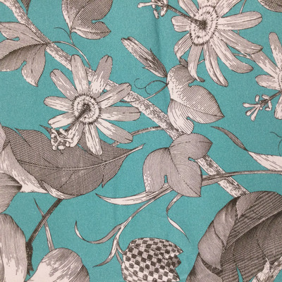 """Islamorada in Turquoise   Toile Style Floral in Turquoise Green and Taupe   Upholstery / Drapery Fabric   Braemore   54"""" Wide   By the Yard"""