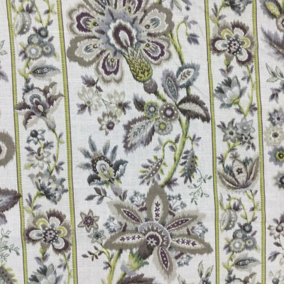 """Satin Stitch in Putty   Ikat Striped Floral in Green / Taupe / Off-White   Upholstery / Drapery Fabric   Braemore   54"""" Wide   By the Yard"""